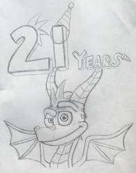 [Drawing/Spyro:RT] Spyro 21st Anniversary Drawing