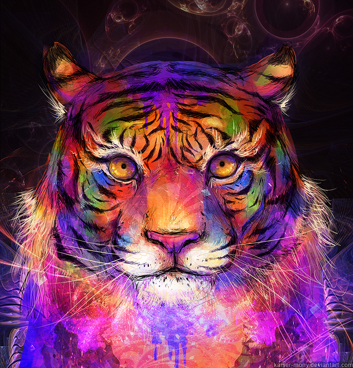 Psychedelic Tiger by kaiser-mony