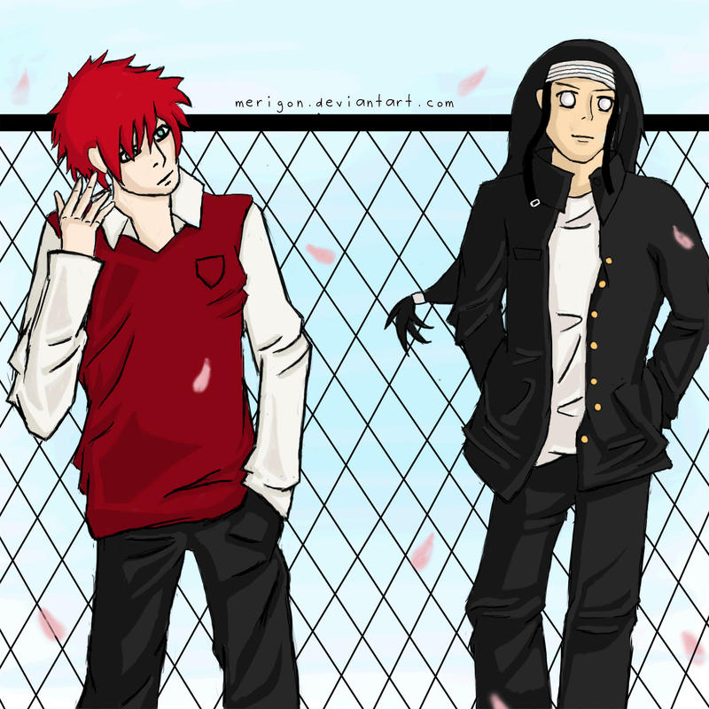 School Boys: Neji + Gaara by merigon on DeviantArt Gaara And Neji