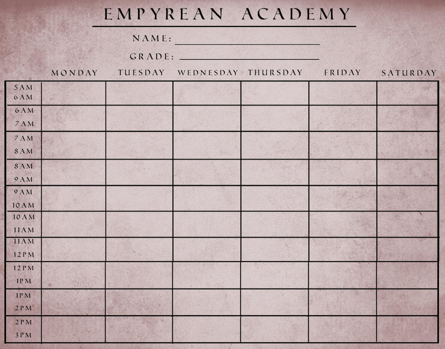 Ea  School Schedule Template By Guardiansofempyrean On Deviantart