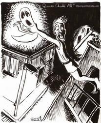 Inktober 2014 #14 Improvising Ghostslaying by qbgchaille