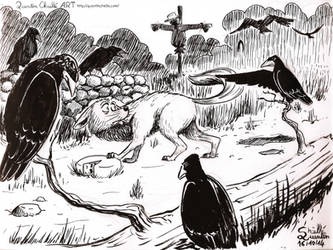 Inktober 2014 #16 Revenge of the Crow by qbgchaille