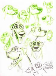 20150318 Cartoon Dog Heads by qbgchaille