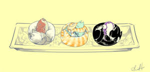 Sushi Cats by manateelove