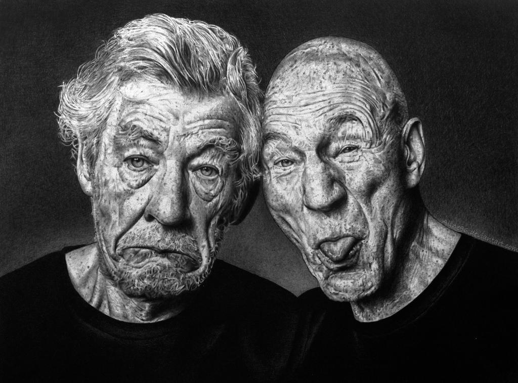 Sir Ian McKellen and Sir Patrick Stewart by Aline96