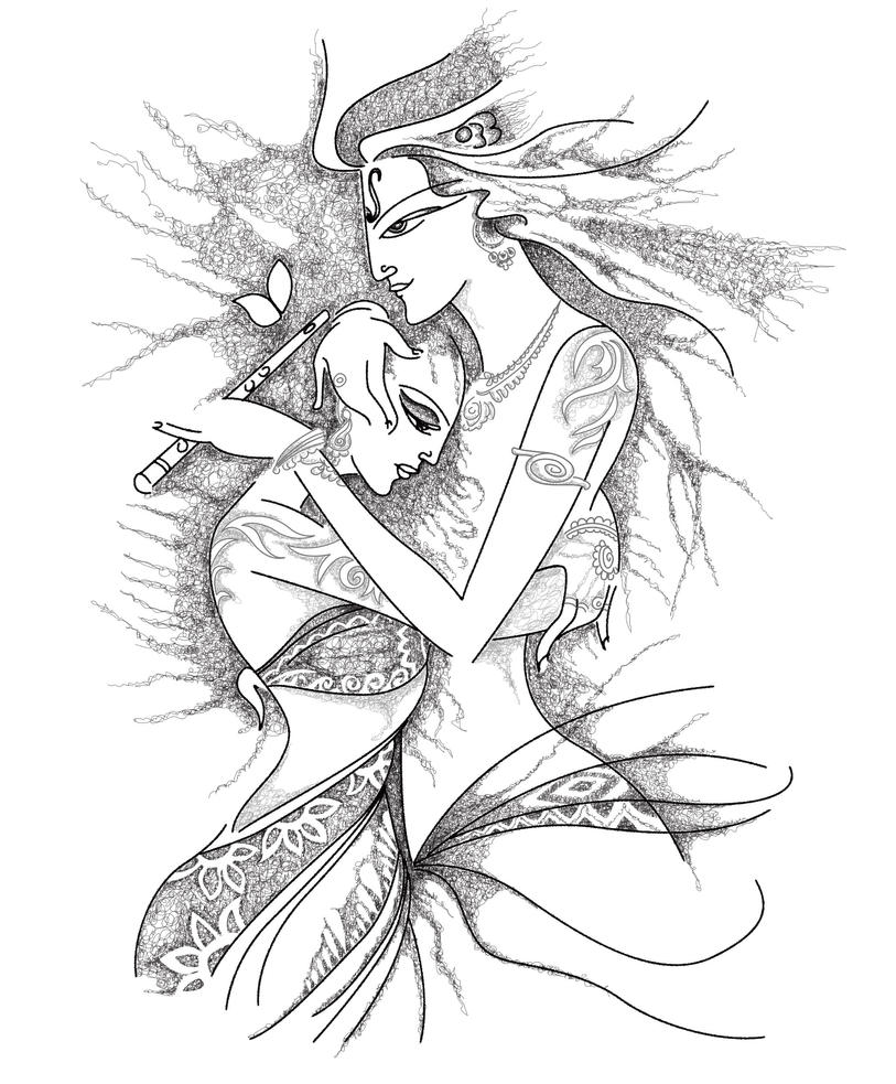 Line Art Krishna : Traditional radha krishna tat by b rox u on deviantart