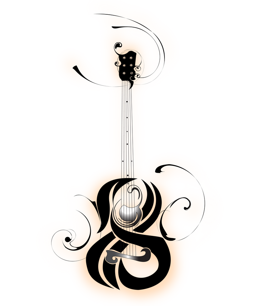 guitar traditional tattoo by b rox u on deviantart. Black Bedroom Furniture Sets. Home Design Ideas