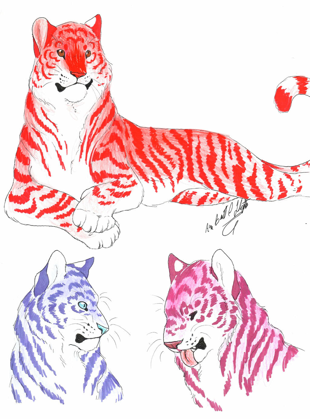 colorful tigers by sammaella on deviantart