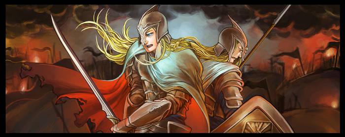 Aegnor and Angrod in Dagor Bragollach by S-Shanshan
