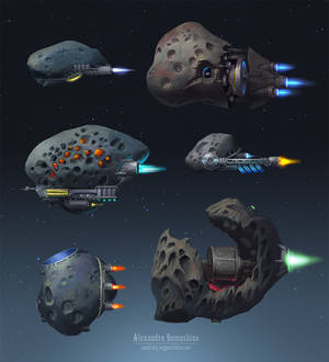 Asteroid spaceships
