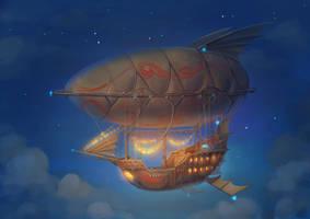 Flying ship: night view