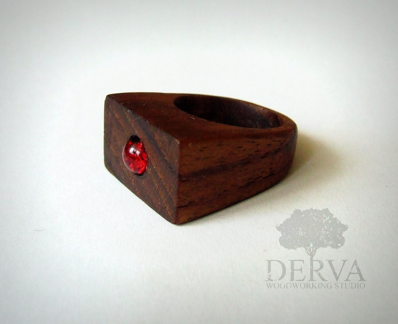 rings wood teak ceramic pin ring black inlay men beveled in s