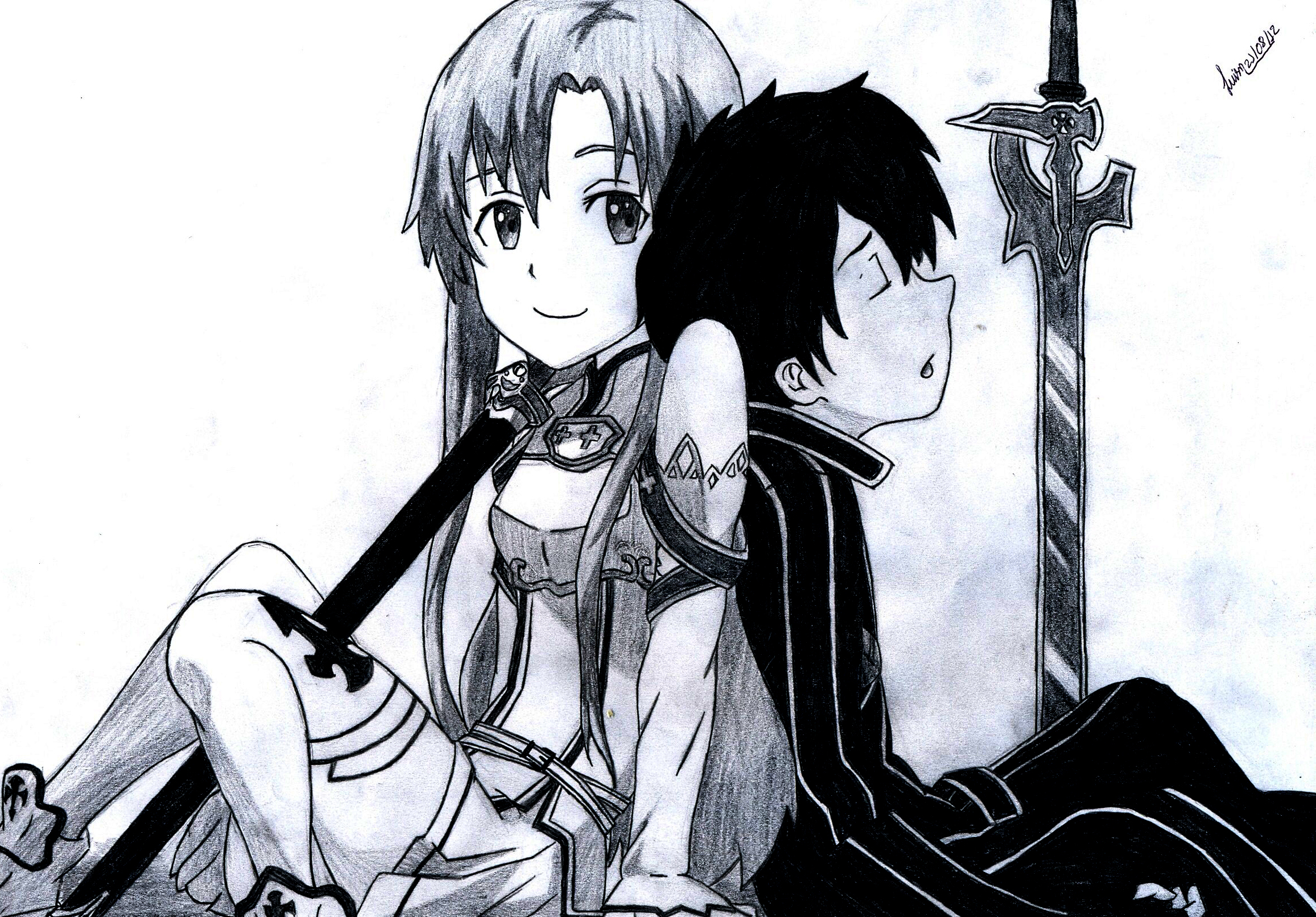 how to draw kirito and asuna