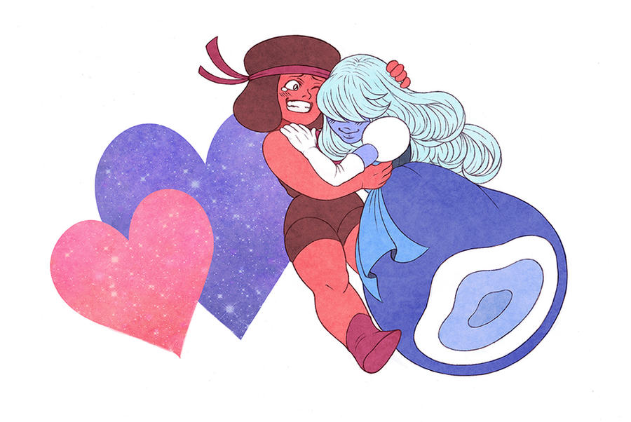 "and here's another little fanart of ""Steven Universe"", this time I drew Ruby and Sapphire :3 I immediately fell in love with these two characters, they're so cute, I just can't I decided to keep th..."