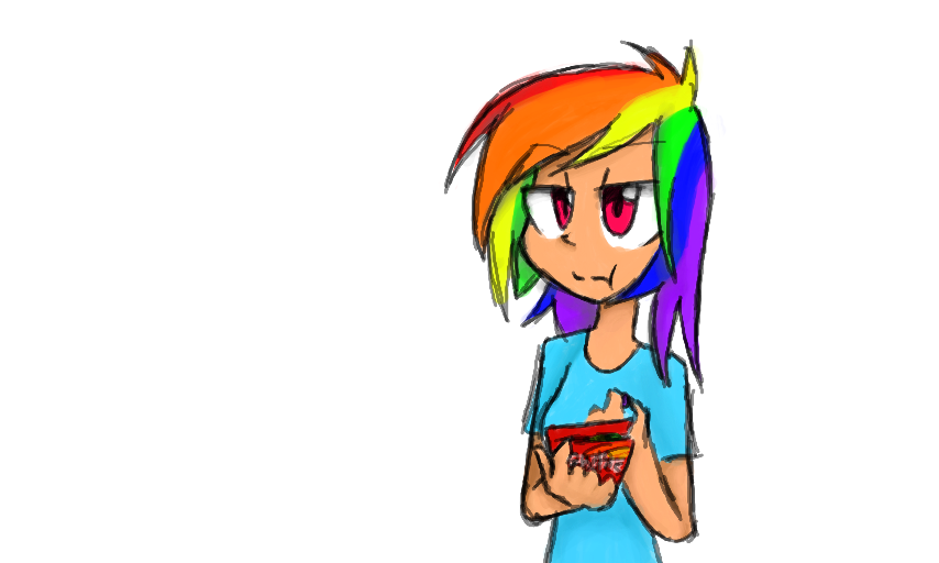 Human Rainbow Dash Eating Skittles By BJ Studder Pon3