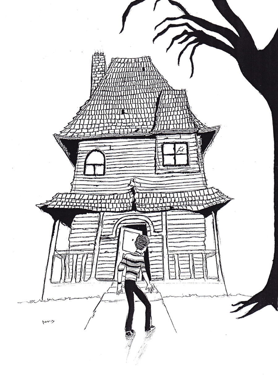 Mansion Drawing: Monster House Pen Drawing By Th-walking-dude On DeviantArt