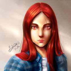 Redhaired girl's face