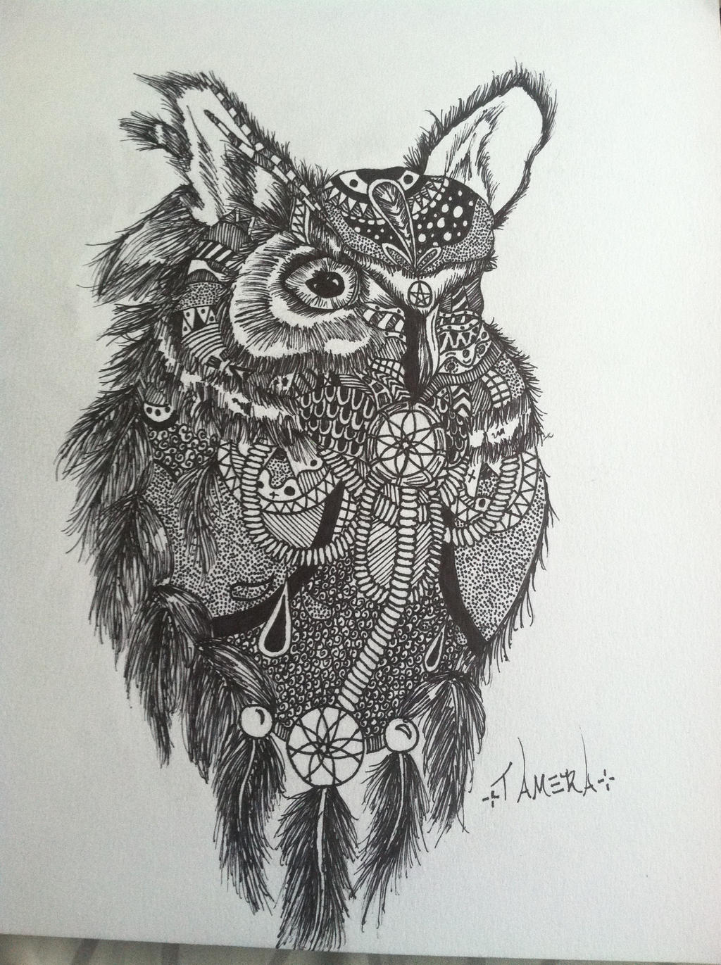 Owl dreamcatcher drawing - photo#10
