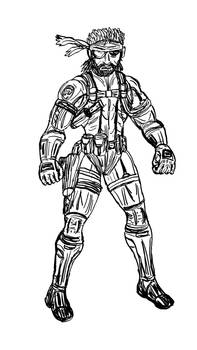 Inktober Day 16: Snake from Metal Gear
