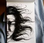 Sad girl in the wind