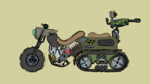 Weird futuristic nuclear motorcycle