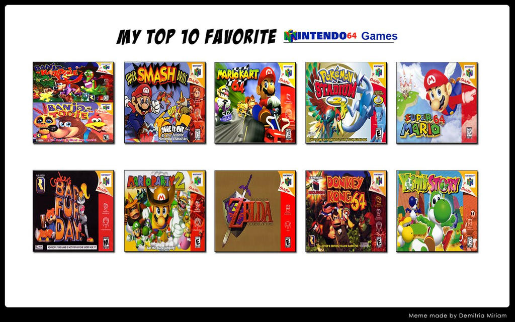 My top 10 nintendo 64 games by firemaster92 on deviantart