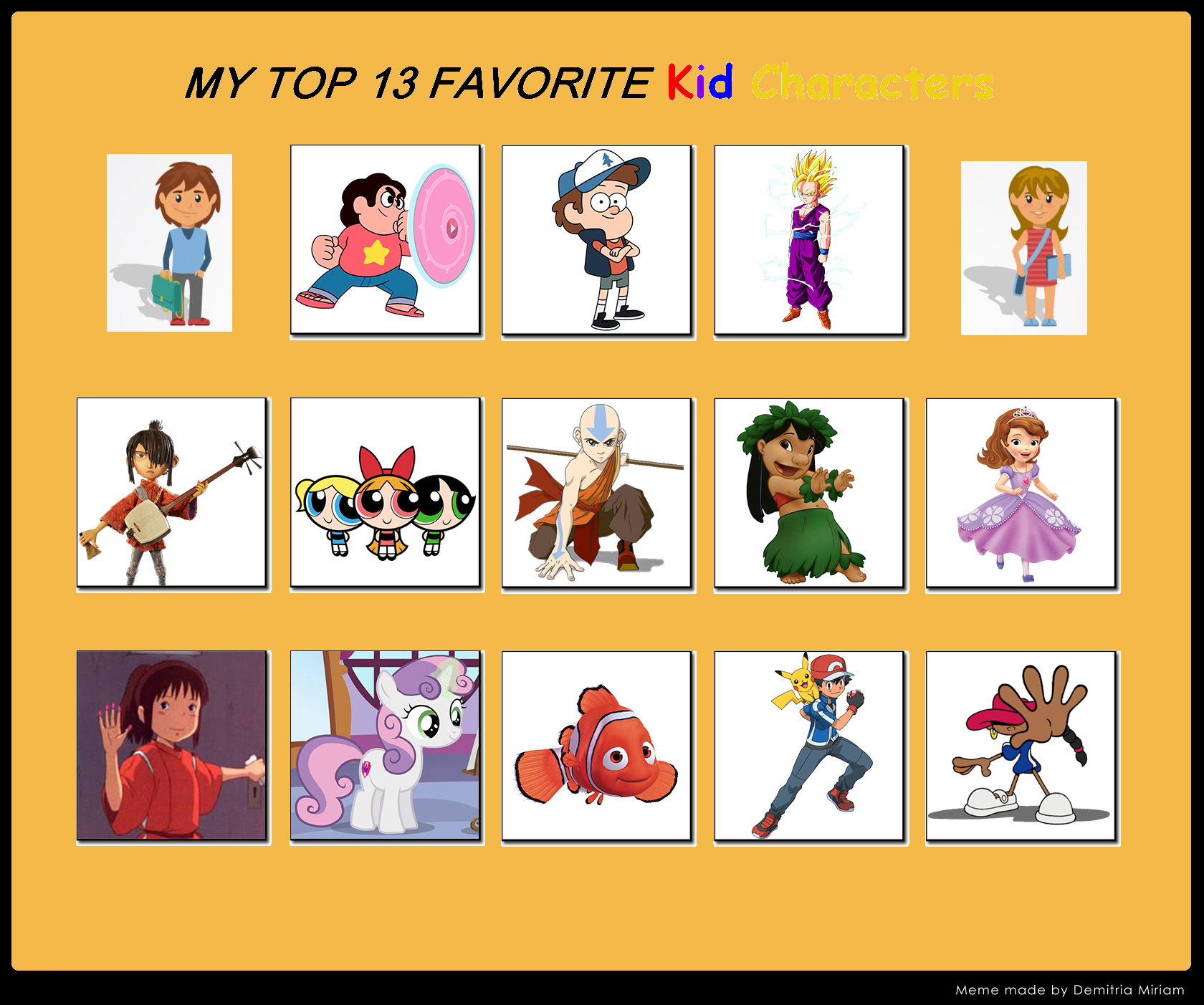my top 13 favorite kid characters by firemaster92 on deviantart