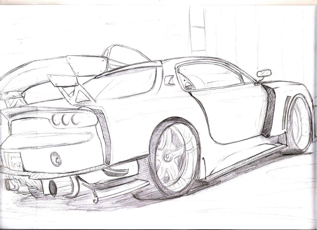 It is a picture of Superb Mazda Rx7 Drawing