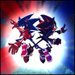 Sunset Rebels Sonic and Shadow