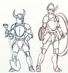 Shovel Knight and Shield Knight sketch