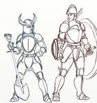 Shovel Knight and Shield Knight sketch (body swap)