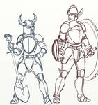 Shovel Knight and Shield Knight sketch (body swap)