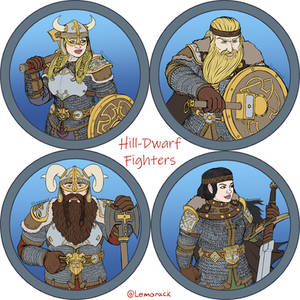 Token Collection - Hill-Dwarf fighters