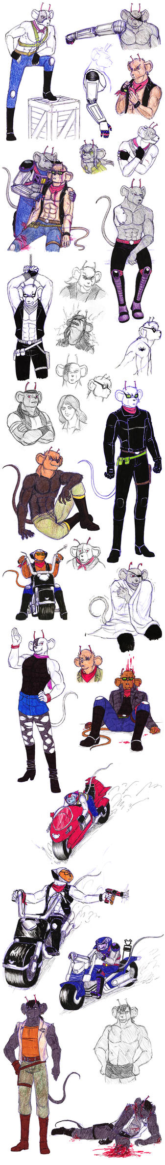 Sketchdump 15 - Biker Mice from Mars by Rosyan