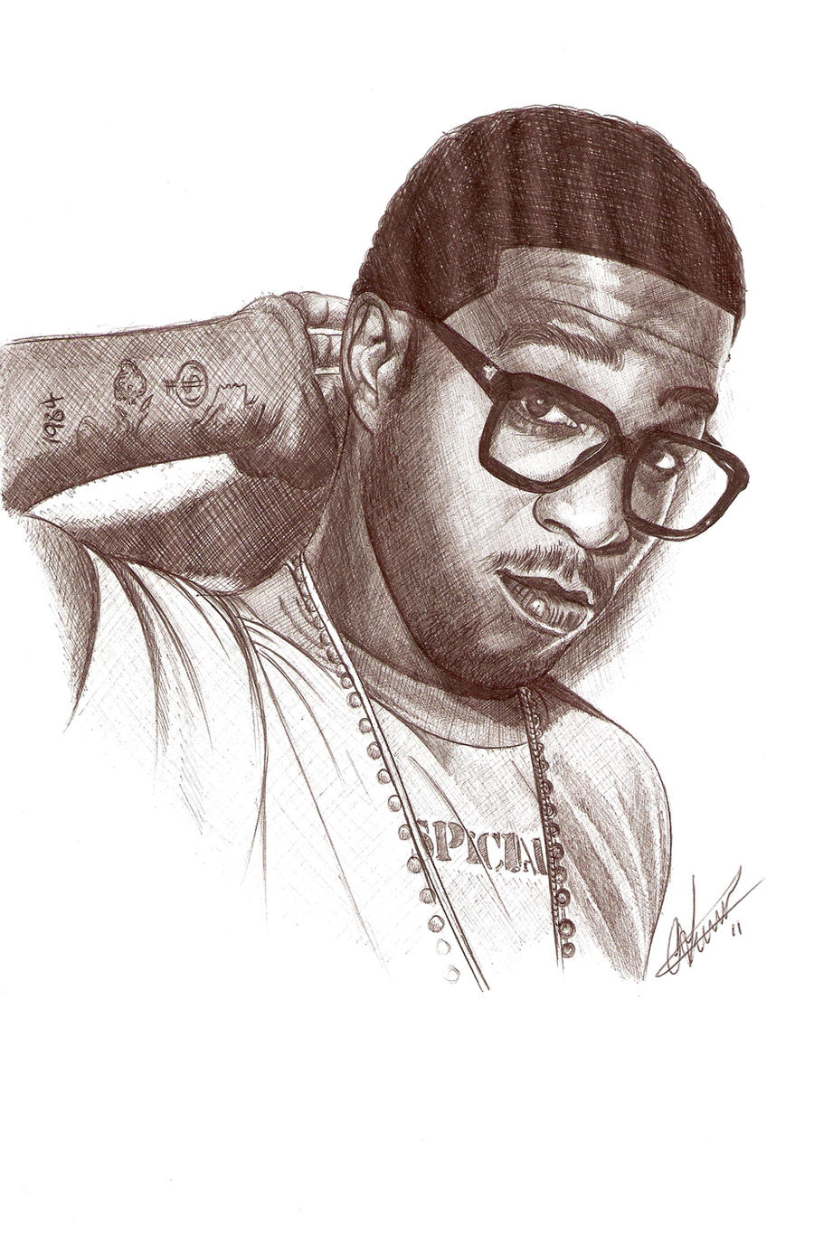 Kid Cudi Biro Portrait by Craig-Stannard