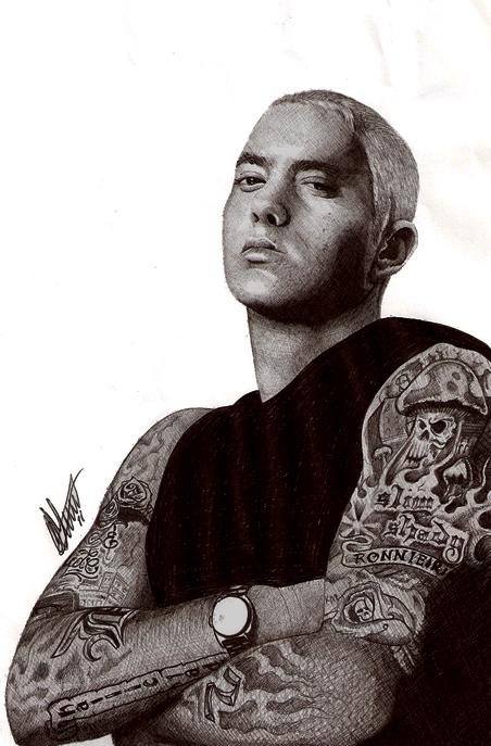 Eminem Biro Portrait by Craig-Stannard
