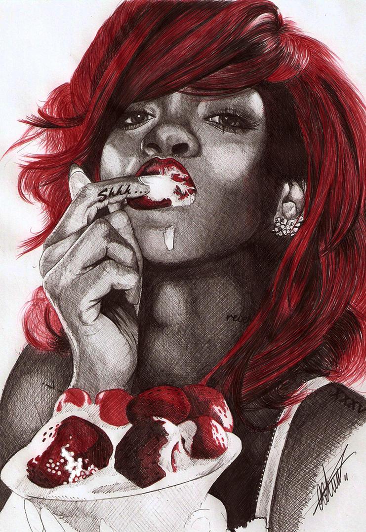 Rihanna Ballpoint Pen Portrait by Craig-Stannard