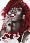 Rihanna Ballpoint Pen Portrait