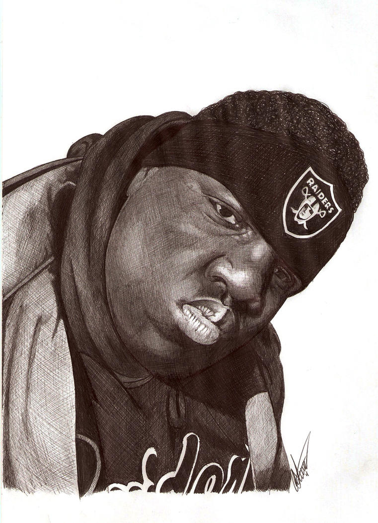 Biggie Smalls biro portrait by Craig-Stannard