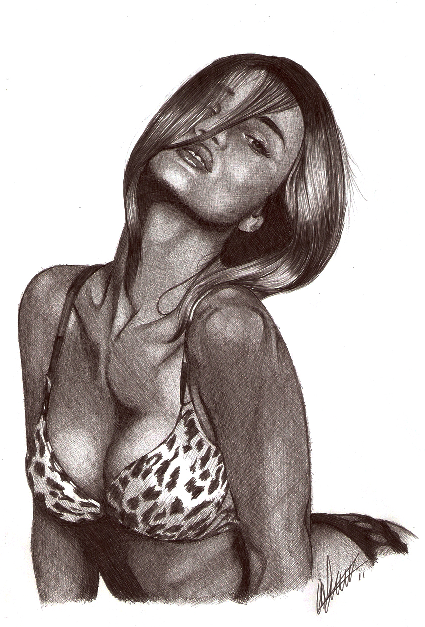 Rosie Huntington Biro portrait by Craig-Stannard