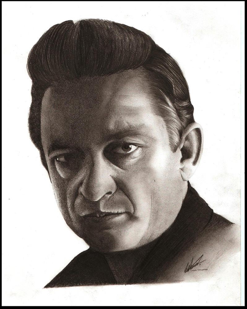 Johnny Cash Pencil Portrait by Craig-Stannard