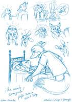 Un asunto conejudo (Zootopia fanfic) - bocetos 1 by Raygirl13