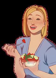 Gwen Laughing While Eating Salad