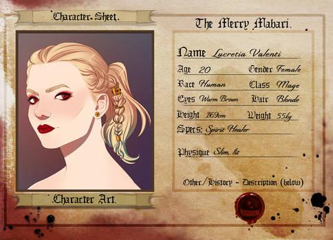 TMM: Lucretia Character Sheet