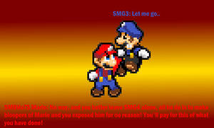 SMBHoTS Mario attacking SMG3