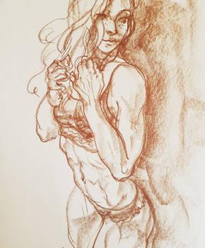 Sepia sketch.
