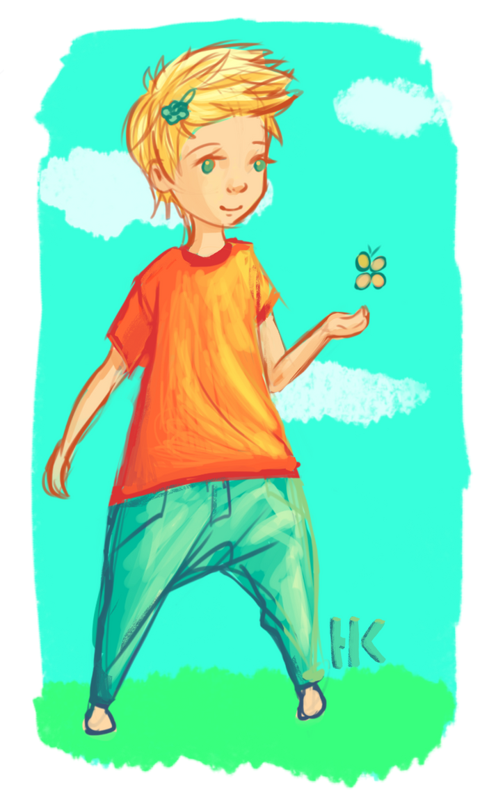Chibi kid with butterfly by TapetalCookie