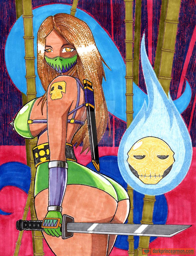 Ninja Girl Green by DarkPrinceArmon