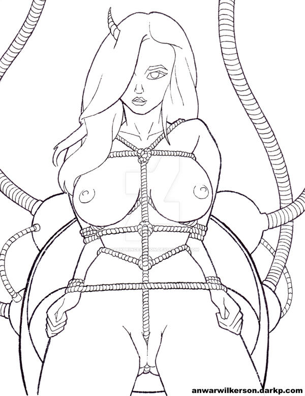 Horned Woman Roped in Chair by DarkPrinceArmon