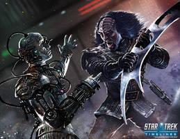 Klingon vs.Borg by MikeGardnerArt